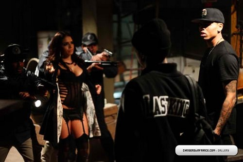 Chris Brown  Wonder Woman / Regular Girl video shoot pictures