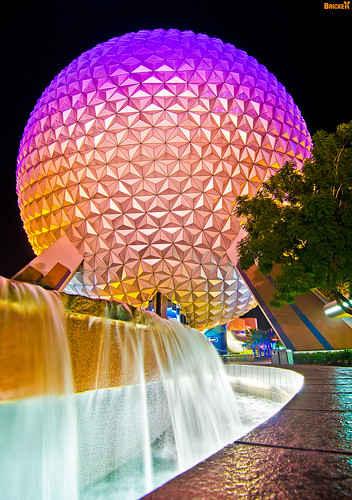 EPCOT Center - SpaceShip Earth Fountain (Night)