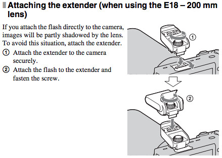 Attaching the extender when using the Sony SEL18200 E-Mount 18-200mm lens, as documented on page 24 of the Sony NEX-5 Instruction Manual