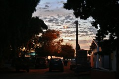 Fishermans Bay (robynbrody) Tags: life street trees light sunset sky building beach night clouds buildings landscape geotagged evening bay town twilight dusk australia shanty southaustralia shantytown shacks dwellings portbroughton yorkepeninsular fishermanshuts spencergulf