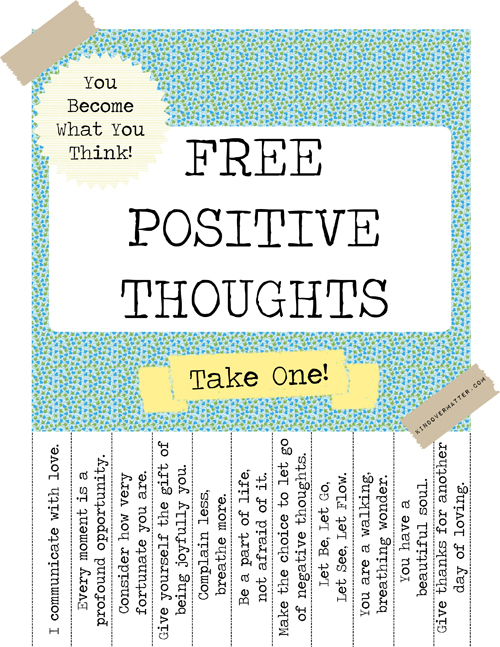 Freebie Alert : Free Positive Thoughts Poster!