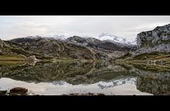 Reflejos en el Lago Ercina (Leonorgb) Tags: canon minas leo nieve asturias reflejos montaas lagosdecovadonga caliza lagoercina principadodeasturias parquenacionaldepicosdeeuropa