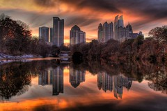 Mirror Reflection in Piedmont Park (AJ Brustein) Tags: park clara atlanta sunset orange usa lake snow reflection ice clouds america canon ga georgia aj hotel mirror pond meer image w january midtown condo mayfair piedmont hdr brustein 2011 snowpocalypse 50d snowmageddon