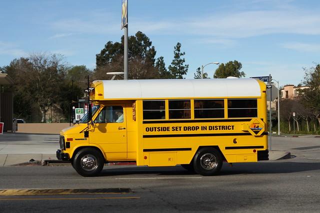ca school bus beach yellow truck la losangeles gm surf shuttle van gmc 3500 vandura