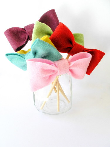 Felt Bowtie Cupcake Toppers by KnockKnocking
