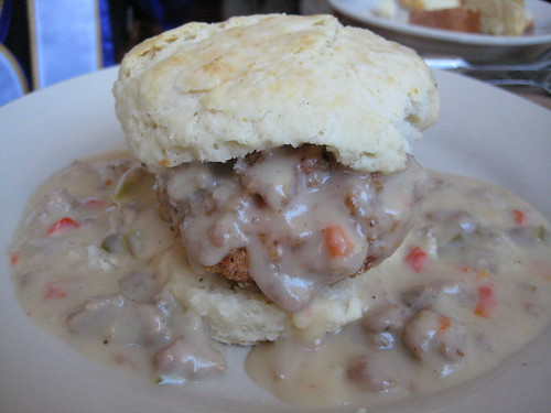 Fried Chicken Biscuit with Sausage Gravy at Hominy Grill