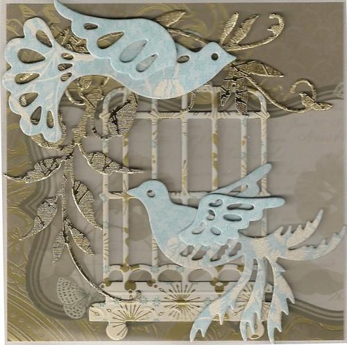 voorbeeldkaart met blauwe vogels