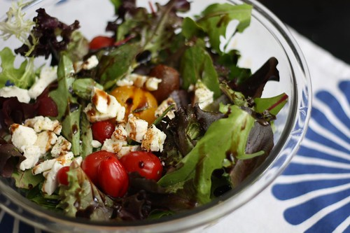 Arugula and Mixed Greens with Mozzarella, Tomatoes, Balsamic, and Olive Oil