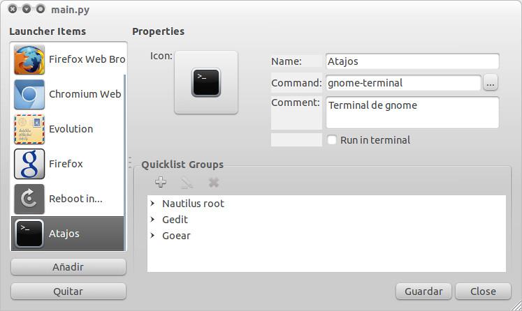 Herramienta gráfica para editar los Quicklist