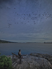 The Last Day of Summer (Photo Alan) Tags: birds sky cloud sea water ocean woman people beach summer vancouver canada
