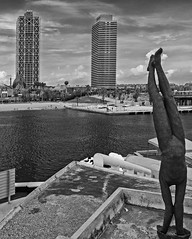 Port Olympic View - Barcelona - Spain (BW) ( Panasonic Lumix DMC-LX100 Compact) (markdbaynham) Tags: barcelona spain spainish espana espanol port olympic seafront view skyline catalan urban metropolis panasonic lumix lumixer dmc dmclx100 lx100 compact 2475mm f1728