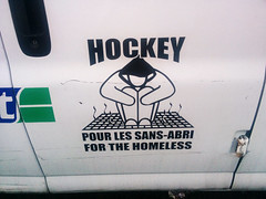 Hockey pour les sans-abri   Hockey for the Homeless (Exile on Ontario St) Tags: hockey sansabri homeless sansabris itinrant itinrance intinrants sans abri charity character stick figure hoodie car vehicle voiture auto automobile camionnette van whitevan montral griffintown help dmunis poverty winter chauffer solidarit montreal sport fundraiser raise money charit initiative organisme bienfaisance homelessness