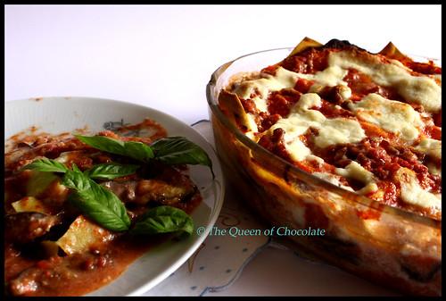 Lasagne con melanzane - Lasagne with aubergines/eggplants