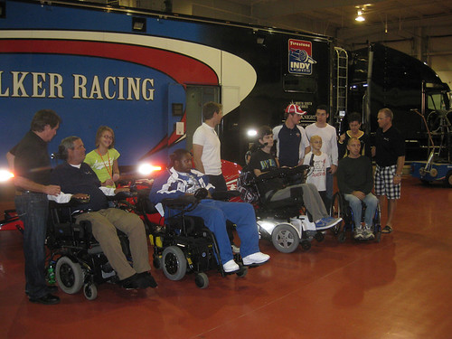 Scott Goodyear, Will Power, Dan Clarke and Simon Pagenaud with some lucky fans