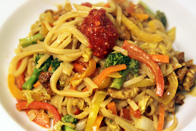 Kitchen sink stirfry with peanut sauce