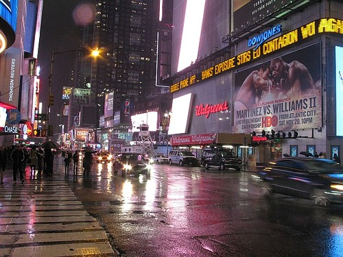Near Times Square in the rain