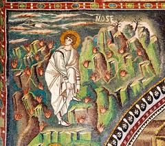 Moses taking off his sandals (Nick in exsilio) Tags: italy bush sandals mosaic mosaics burning moses ravenna exodus theophany basilicadisanvitale nectamenconsumebatur