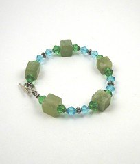 Light jade and Chinese crystal bracelet