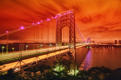 Pretty in Pink @ the George Washington Bridge. (mudpig) Tags: nyc newyorkcity longexposure bridge pink red newyork night geotagged dawn newjersey bravo traffic manhattan nj gothamist volunteer awareness georgewashington breastcancer hdr gwb fortlee georgewashingtonbridge washingtonheights lighttrail mudpig stevekelley