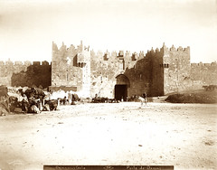 Jerusalem. Damascus Gate. (Palestine Exploration Fund) Tags: men town gate jerusalem entrance donkey archway finn fortifications bedouin damascusgate americancolony 18981911 gibsonvitto palestinejudeadistrict PEF:Photo=p1724