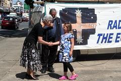 Ballarat Mayor Judy Verlin meets Tarryn for Eureka Flag raising