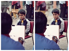 Spot the Difference? :P [EXPLORE] Dec 5 2010 (Mayank Sharma renewed :D :D) Tags: carnival blue boy people white man public pencil canon 50mm sketch photo interesting focus diptych dof delhi picture innocence sheet mayank diptychtriptych