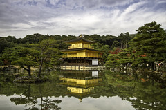 Cliche Golden Pavilion (arcreyes [-ratamahatta-]) Tags: trees reflection japan canon eos golden kyoto cloudy 7d kinkakuji hdr pavillion 3xp ef1022mm