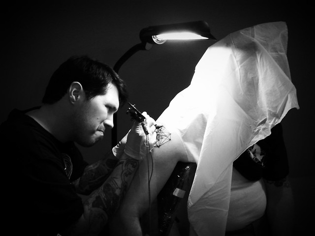 Brian getting inked