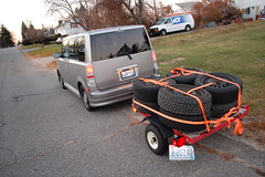utility trailer scion xb snowtires harborfreight