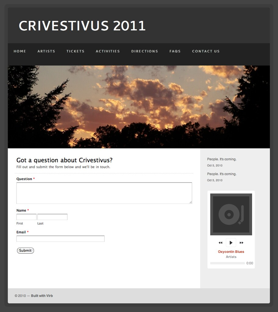 Crivestivus Site on Virb with Wufoo Form