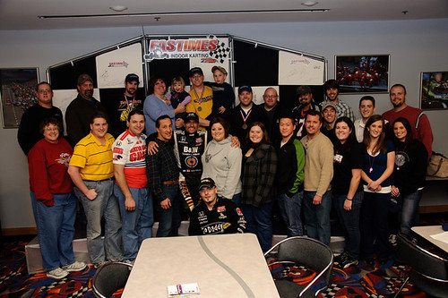 Alex Tagliani with indoor go-karting participants
