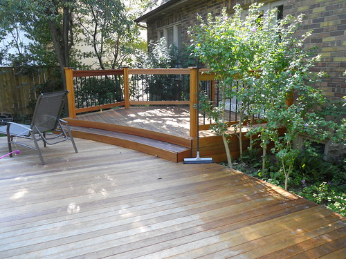 outdoor patio furniture on wood deck