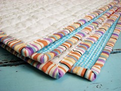 Striped Binding (BlueElephantStitches) Tags: orange baby white green girl modern aqua quilt squares cream logcabin improv handquilting perlecotton