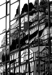 Distorsion (Bernard l Hermite) Tags: city windows urban bw abstract reflection building glass garden mirror