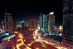 View from Grosvenor House 19th Floor Dubai Marina (Swissrock) Tags: skyline night nikon gulf nightshot floor balcony uae both arabian luxury dubaimarina 19th grosvenorhouse panoramicviews emirat d700 andykobel