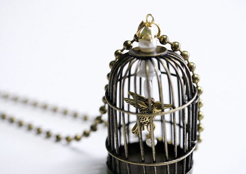 Custom Bird in a Cage Pendant Necklace