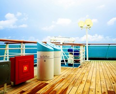 Holiday Colours (emloquace) Tags: wood cruise sea vacation holiday water lamp fire ship north royal carribean save hose bin atlantic caribbean railing recycle nassau legend extinguisher planks seas reel