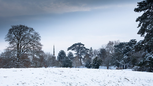 Castle Meadows with St Peters Church Spire