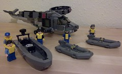 HMS Ardent - Boats and Aircraft (Babalas Shipyards) Tags: boat lego military navy helicopter crew rib nautical patrolcraft minifigurescale