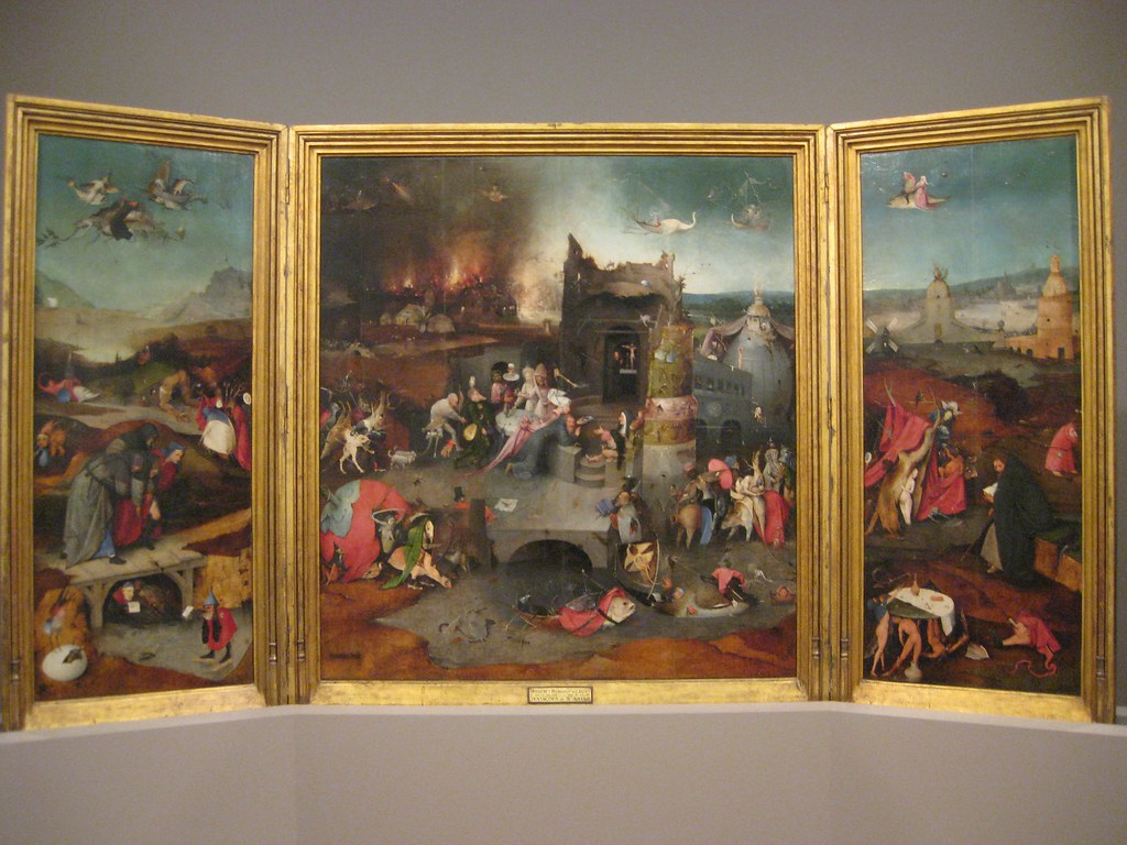 Hieronymus Bosch (Flemish, 1450-1516) Triptych of the Temptations of St. Anthony Abbot with the Betrayal of Christ and the Way to Calvary (c. 1500) Oil on panel. Museum of Ancient Art, Lisbon.