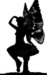 Fairy Silhouette  01 (Robin Hutton) Tags: shadow woman beautiful silhouette female manipulated wonderful butterfly painting real fun wings artwork picture silhouete fairy fairies sideways sillouete mythical silouete entrancing farey fayrie winges fayries robinhuttonart realfairy