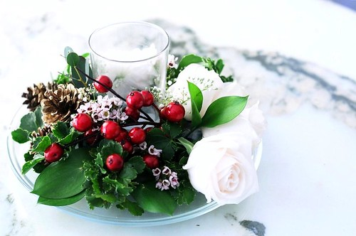 Christmas Wedding Table Flower Arrangement