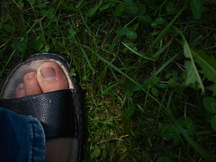 Privete-i paii! (m!Chou) Tags: shadow summer green grass foot olympus step sandal pasi putna e420 umbr iarb zd17545mmf3556