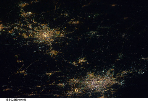 north korea at night from space. Cities at night in northern