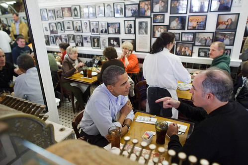 The President has lunch with Sen. Bob Casey at the Famous 4th Street Deli in Philadelphia