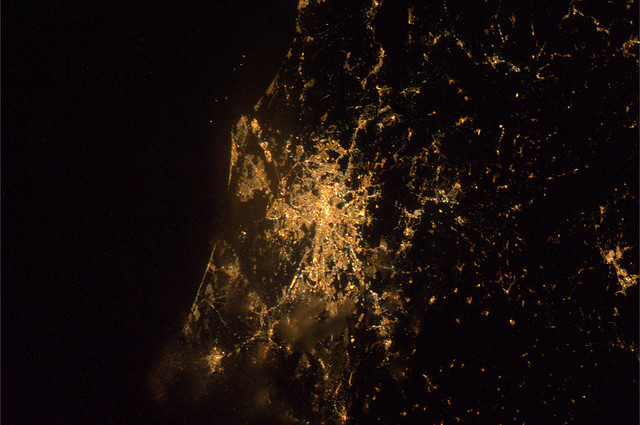 Rome by night, viewed from East