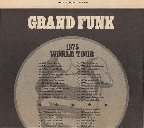 01/02/75 Grand Funk - All The Girls In The World Beware!!! Tour Ad (Top)