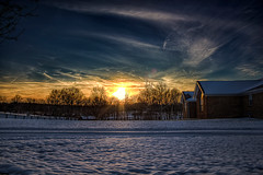 Snow in Kentucky (JGo9) Tags: ranch windows roof sunset sky house snow brick home window night clouds canon eos rebel casa kentucky ky hdr snownight regionwide t1i
