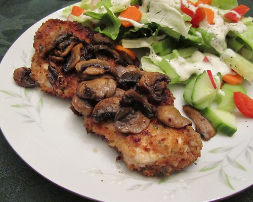 Turkey Cutlets w/ Mushrooms & Salad