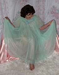 Me, in sea bird nighty...nightgown. (Sugarbarre2) Tags: ocean show pink flowers portrait woman baby shells white hot feet girl up fashion self hair fur mom foot photo big cool nikon aqua toes head bare femme flash silk babe mature sissy wife upskirt transparent bridal mistress sleek nylon sheer 365days